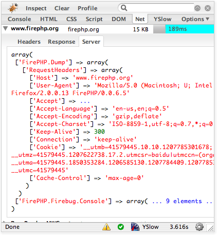 FirePHP Screenshot